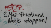 Graffiti in Göttingen: 9. Mai Friedland Nazis stoppen!