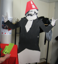 Karl Marx with a crazy party hut