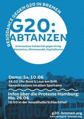 :: Demo :: G20 :: Abtanzen. Grenzenlose Solidarität gegen Krieg, Rassismus, Klimawandel, Kapitalismus.