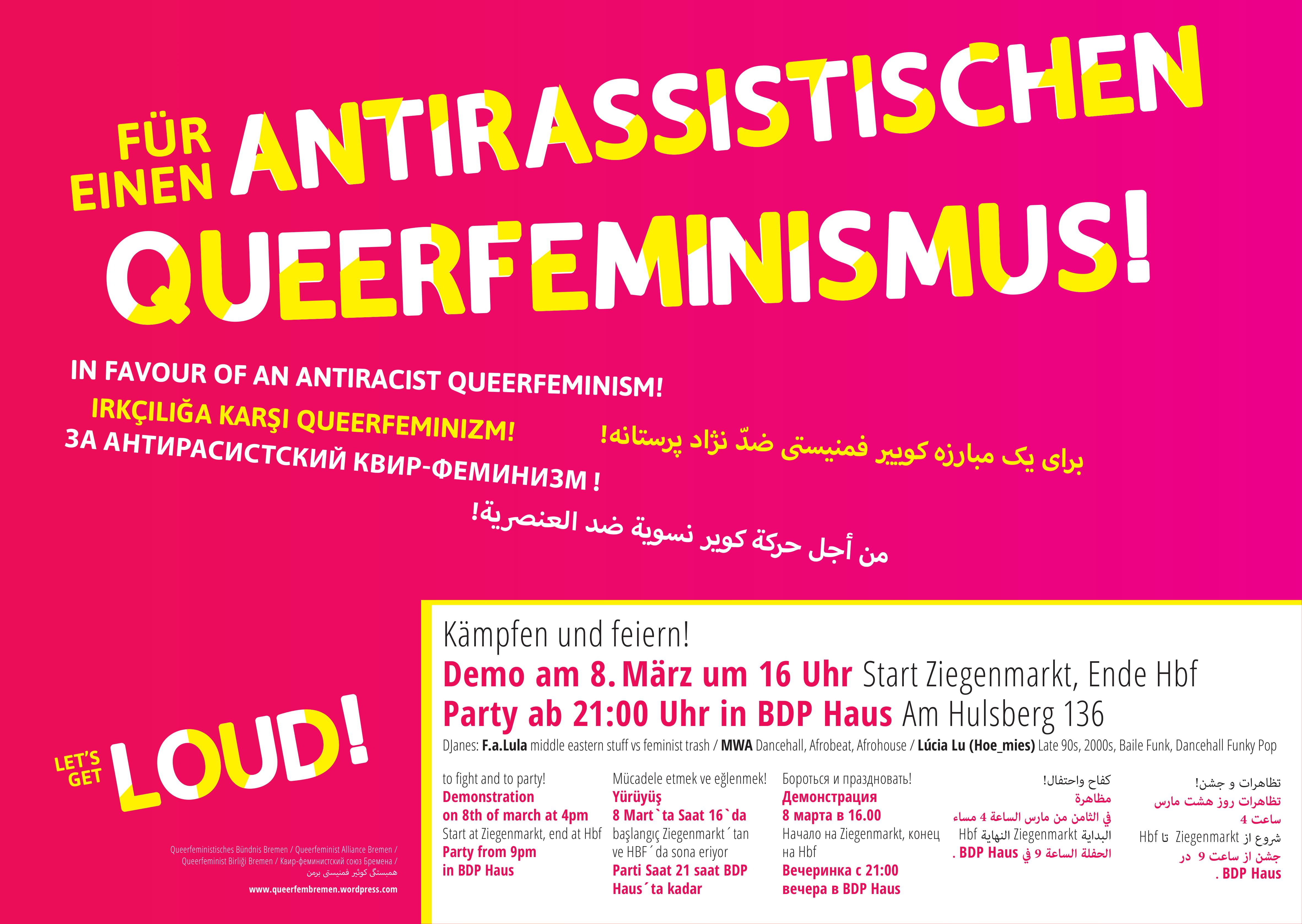 Queerfeministischer Block @ Frauen*kampftag 08. März 2018