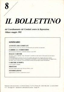 Ristrutturazione industriale e condizione operaia, il Bollettino 8, dicembre 1982