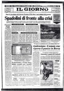 """Bergamo, processo Prima Linea: """"Molte sorprese al processo. Severe condanne ai 'pentiti'"""". Il Giorno 6 agosto 1982"""