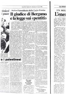 163 Il giudice di Bergamo e la legge sui pentiti. La Stampa 15 agosto 1982