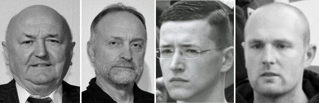 Peter Köppe, Andreas Hufnagel, Mathias König, David Lübke. Fotos: NPD (2), via GAMMA, Indymedia linksunten.