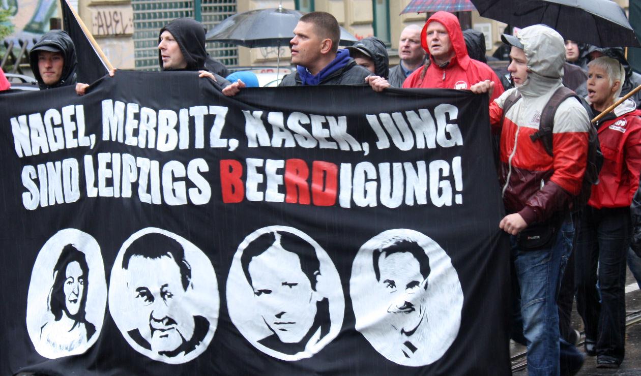 Daniel Speck, Enrico Böhm, Alexander Kurth, mit Glatze Olaf Kretschmar, mit roter Jacke Mirko Gelsdorf (Cavertitz), Alexander Kerper (Nordsachsen), Cornelia Reller