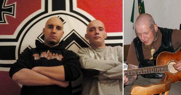 Daniel Kappes Freunde: Sebastian Fritzsche und Martin Heller vor einer Hakenkreuzflagge, Steffen Schulz als Liedermacher in der Odermannstraße 8