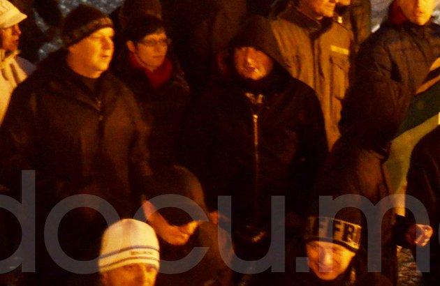 Thomas Persdorf (oben links) und Sven Parthaune (unten rechts) auf einem Rassistenaufmarsch am 6. März 2015 in Wurzen. Foto: docu.media.