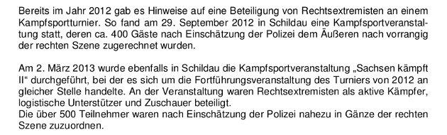 """Auszug aus dem Verfassungsschutzbericht 2013 des sächsischen Landesamts für """"Verfassungsschutz""""."""
