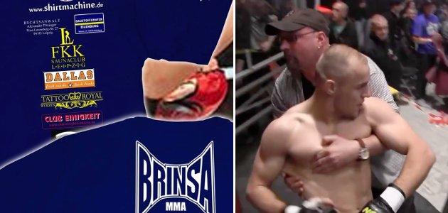 """""""La Familia Fight Night"""" am 11. Mai 2013: Links Brinsas T-Shirt mit Sponsorenlogos. Rechts der Leipziger Nazihooligan Riccardo Sturm (siehe GAMMA 186), während er Brinsa stützt."""