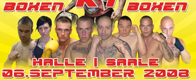 "Von ""Fighting Fellas Boxpromotion"" präsentierte ""4. Saturday Fight Night"" am 6. September 2008 in Halle: Links Christian Pohle, 5.v.l. Rocco Hahn, 6.v.l. Michael Woitag, rechts der Colditzer Nazi Niko Gläser."