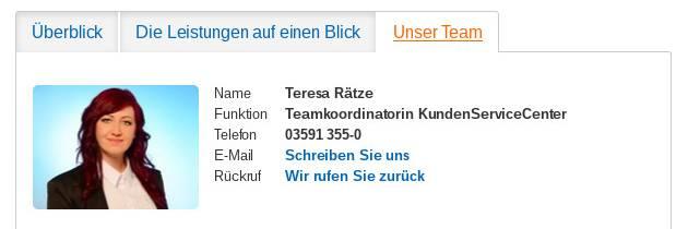 Teresa Rätze auf der Webseite der Volksbank Bautzen