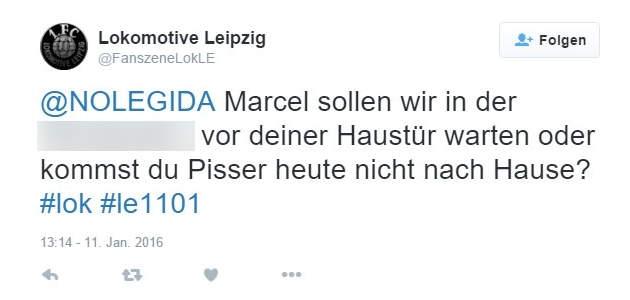 """Fanszene Lok Leipzig"" am 11. Januar 2016 bei Twitter, wenige Stunden vor dem Naziangriff in Connewitz"