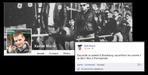 Extrait des pages Facebook de Xavier Maire et du GUD Alsace