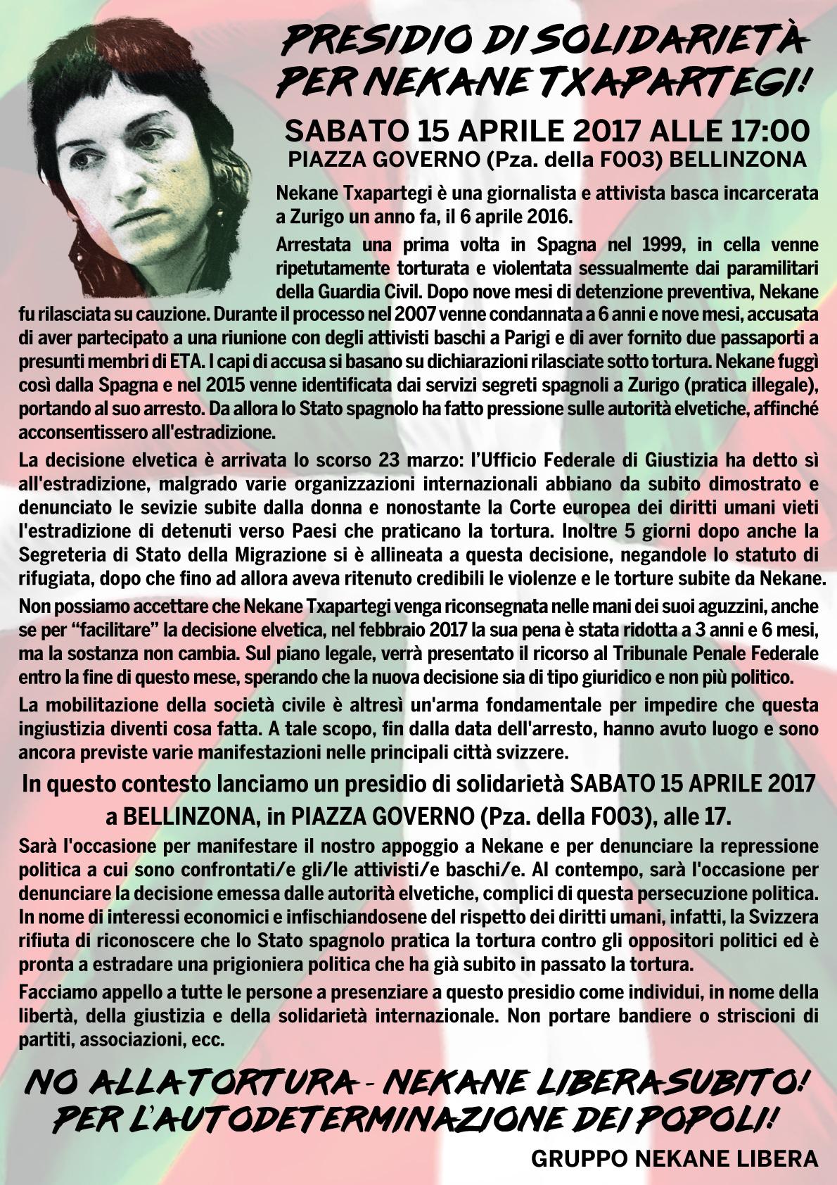 15.04.2017 - Presidio di Solidarietà per Nekane Txapartegi 1