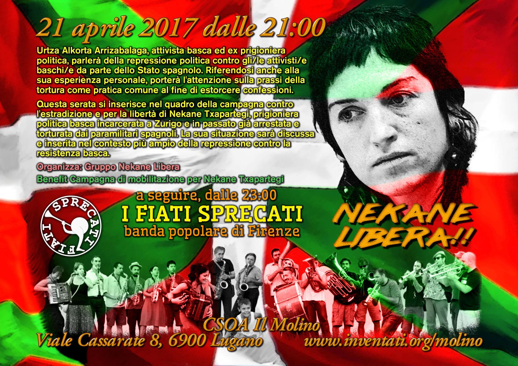 21.04.2017 - Serata contro la repressione del Popolo Basco - Concerto con i Fiati Sprecati