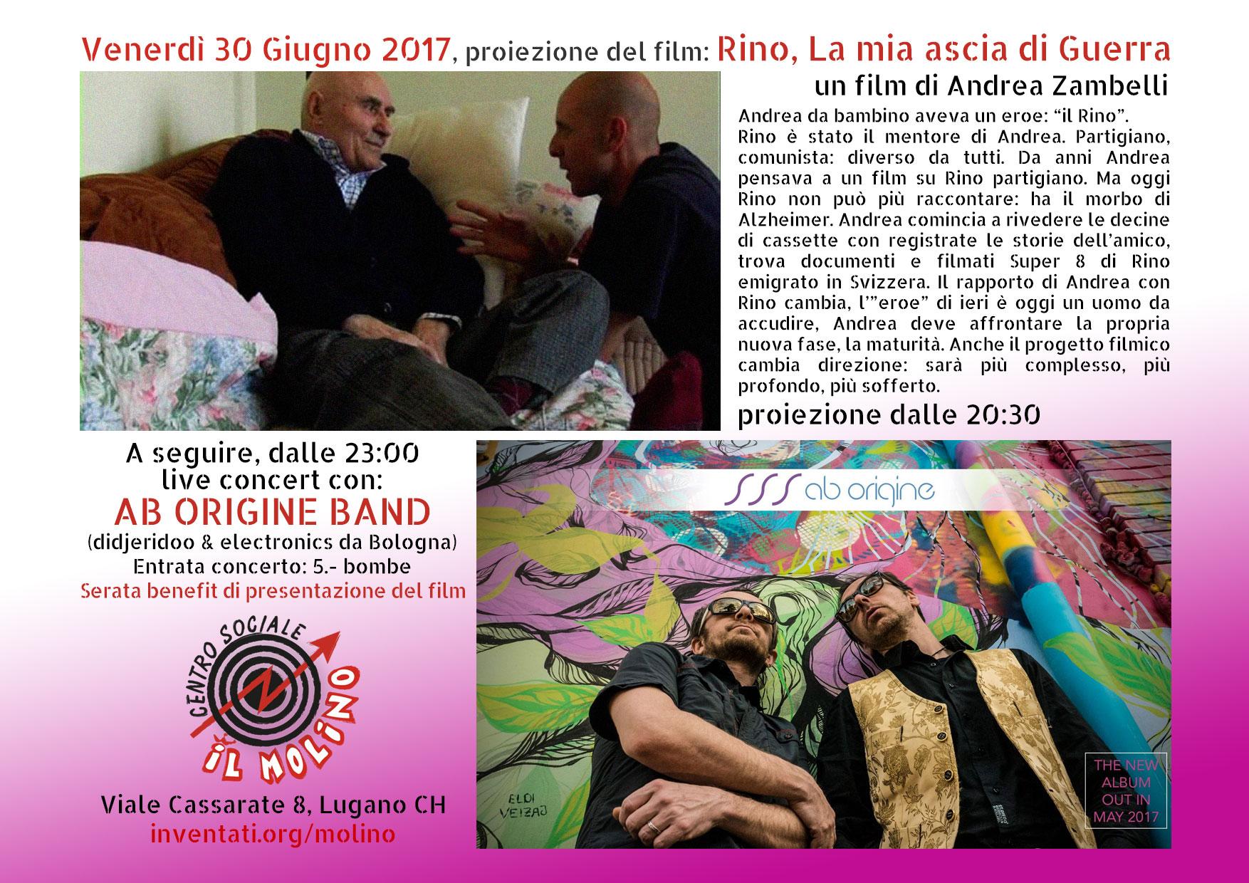 30.06.2016 - Proiezione Film: Rino, La mia ascia di Guerra. <br /> Concerto AB ORIGINE band