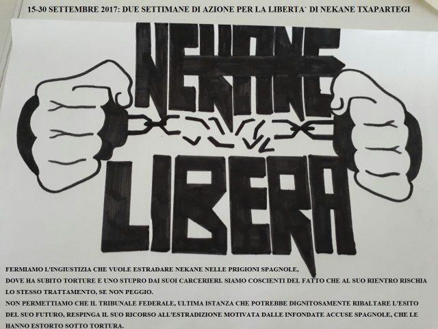 15-30 Settembre: Due Settimane di Azione Per la libertà di Nekane Txapartegi