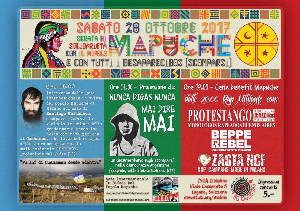 28.10.2017 - Serata di Solidarietà con il Popolo Mapuche e con tutti i Desaparecidos