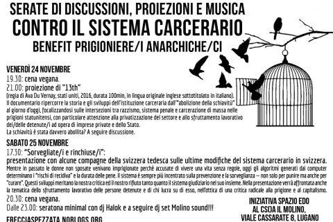 24 e 25.11.2017 - Serate di discussioni, proiezioni e musica contro il sistema carcerario