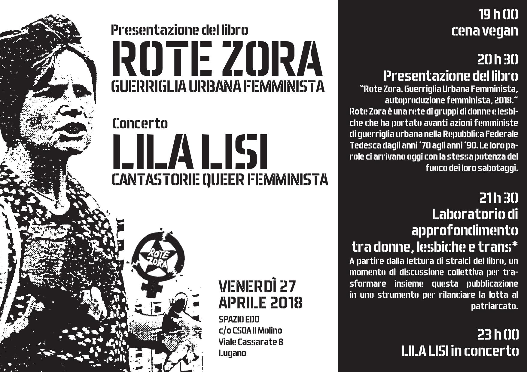 27.04.2018 - Presentazione libro Rote Zora - Guerriglia Urbana Femminista + Laboratorio di approfondimento tra donne, lesbiche e trans* 1