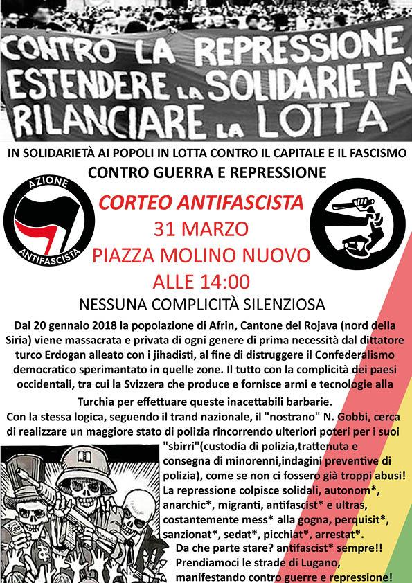 31.03.18 - Corteo antifascista a Lugano in solidarietà con popoli e individui in lotta