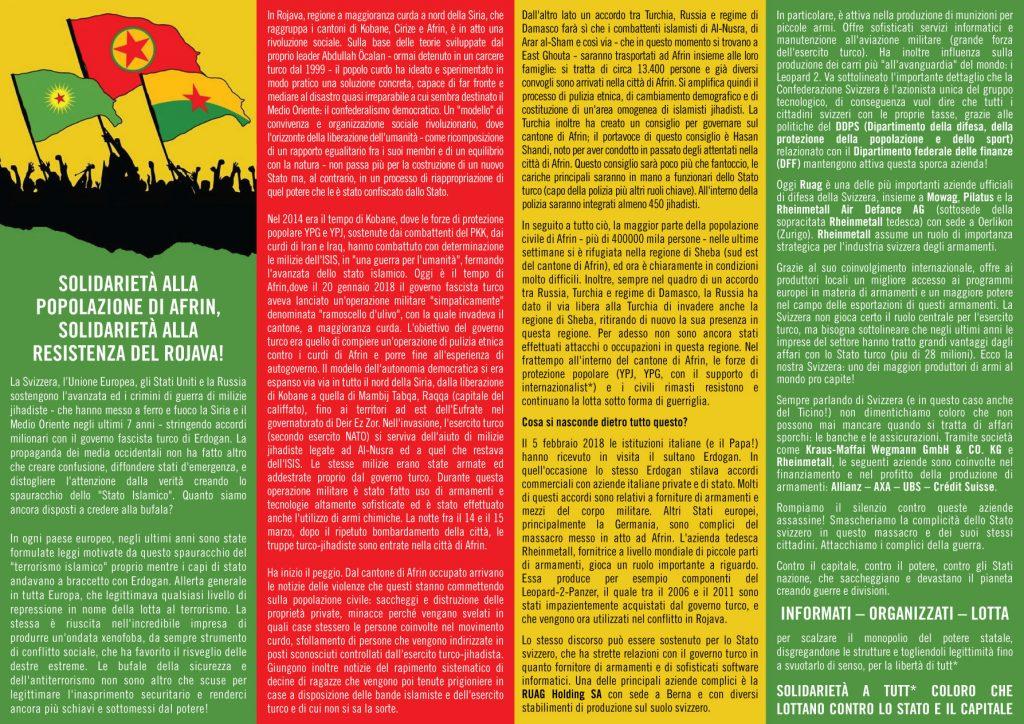 Solidarietà Alla Popolazione Di Afrin, Solidarietà Alla Resistenza Del Rojava!