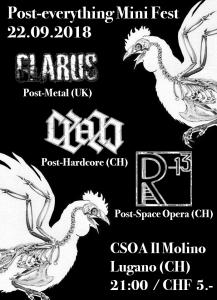 22.09.2018 - Post-everything Mini Fest: Glarus (UK) / Cyan / R-13