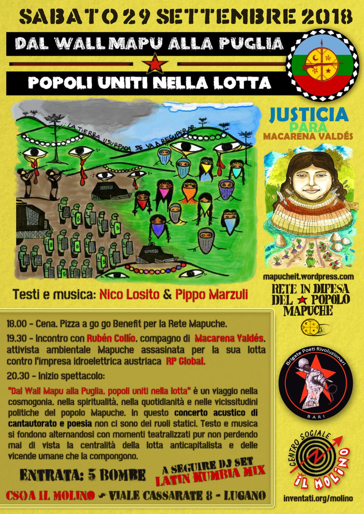 29.09.2018 - Dal Wallmapu alla Puglia - Popoli Uniti nella Lotta