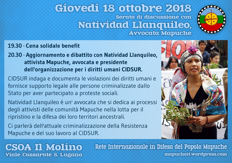 18.10.2018 - Serata di discussione con Natividad Llanquileo, avvocata Mapuche