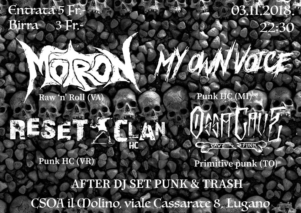 Notte Punk con Motron, My Own Voice, OssaCave & Reset Clan