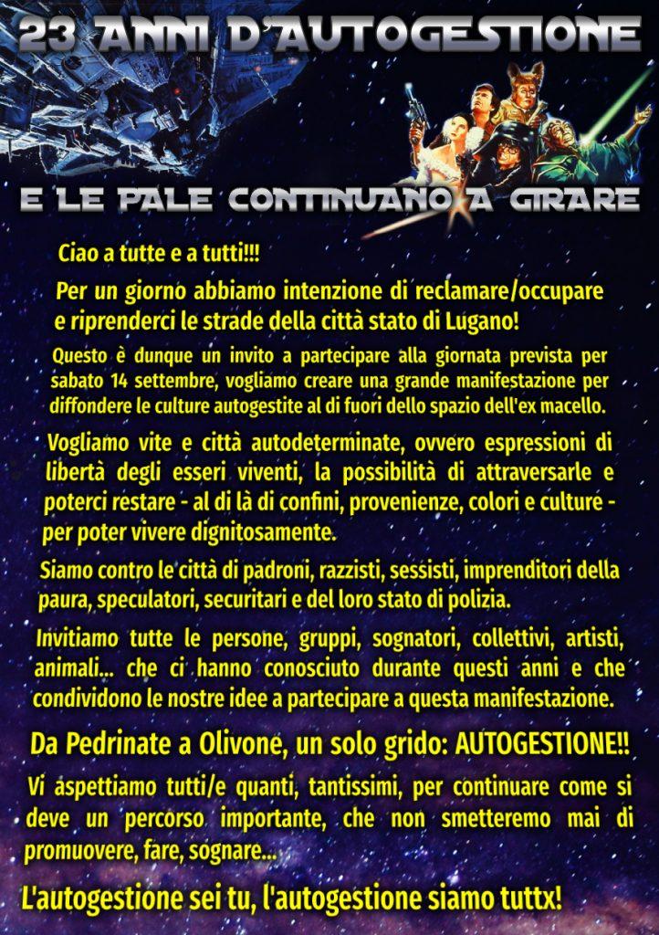 14.09.2019 - Manif ~ Festa ~ Azione: Chiamato Intergalattico
