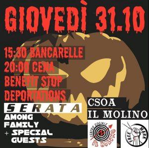 31/10/2019 - Stop Deportations: Bancarelle, Cena, Serata Benefit