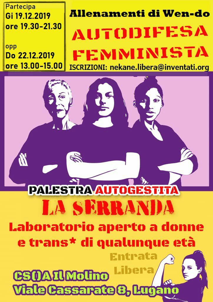 19 e 22.12.2019 - Laboratorio di Autodifesa Femminista: Wen-Do