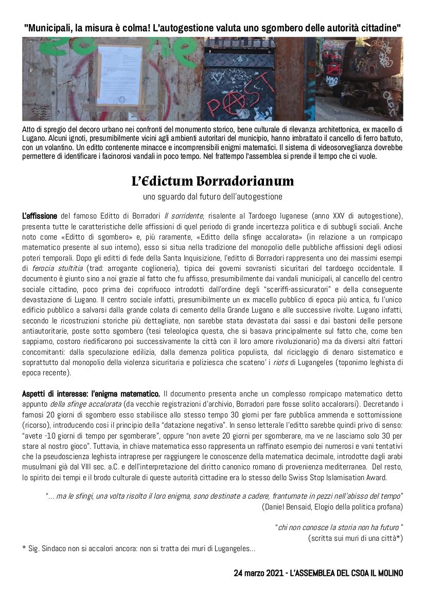 Csoa il Molino - Edictum Borradorianum