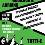 Venerdì 18 Luglio ore 9: presenza solidale per Gianluca e Adriano