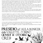 Torino 15/10 - Presidio all'Aula Bunker: si apre il processo d'Appello per il sabotaggio al cantiere di Chiomonte