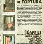 Sabato 16 aprile - Appuntamento davanti il carcere di Terni - 41 BIS = TORTURA
