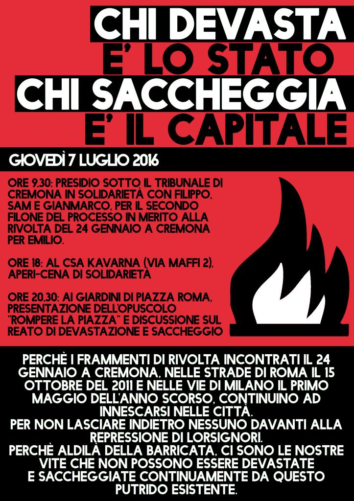 Da Roma a Cremona per la giornata di solidarietà del 7 luglio