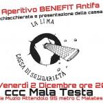 """Roma - 2 dicembre - Aperitivo benefit e presentazione della cassa di solidarietà """"La lima"""""""