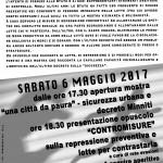 """Verona - 6 maggio - Mostra """"una città da paura"""" e presentazione dell'opuscolo """"Contromisure"""""""
