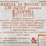"""14 maggio @ L38 Squat - Presentazione della rivista Laspro con la campagna Pagine contro la tortura e reading teatrale """"Dighe"""""""