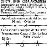 """Potenza - 28 ottobre - Iniziativa benefit Cassa di solidarietà """"La Lima"""" @ CSOA Anzacresa"""