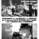 Bologna - Presidio solidale con i ribelli del 15 ottobre a Roma e del 7 maggio al Brennero – Lunedì 15 ottobre