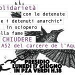 Bologna - Lunedì 17 giugno - Presidio solidale per detenutx in sciopero della fame
