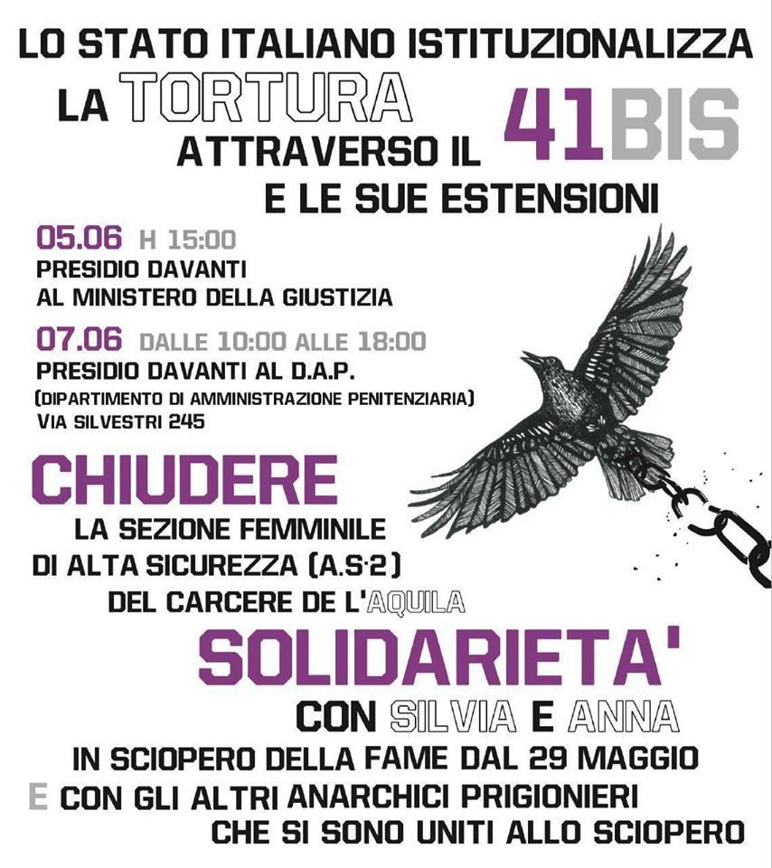 Roma - 5 giugno ore 15:00 - Presidio davanti al ministero della giustizia