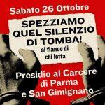 26 ottobre: Presidi sotto le carceri di Parma e San Gimignano