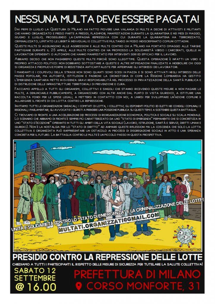 MILANO - Sabato 12 settembre ore 16.00 - Presidio contro la repressione delle lotte