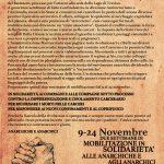 9-24 novembre: Settimane di solidarietà alle anarchiche e anarchici sotto processo