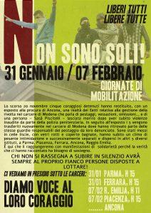 Domenica 7 Febbraio - Fuori le carceri di Reggio Emilia e Piacenza